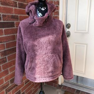 PINK Teddy Pullover Hoodie Cocoa Powder XS